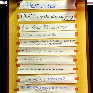 Headlines from the iPad Institute Grade 7s attended show how thoughtful our kids are about this experience. Picture from @superkimbo