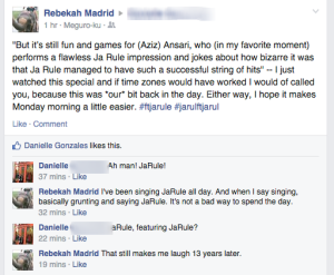 Rebekah Madrid    But it's still fun and games for  Aziz  Ansari ...